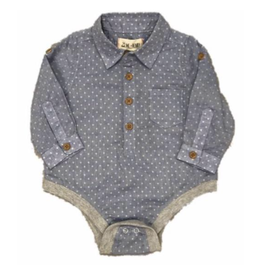Me + Henry Blue Spot Woven Onesie, Baby 18-24M