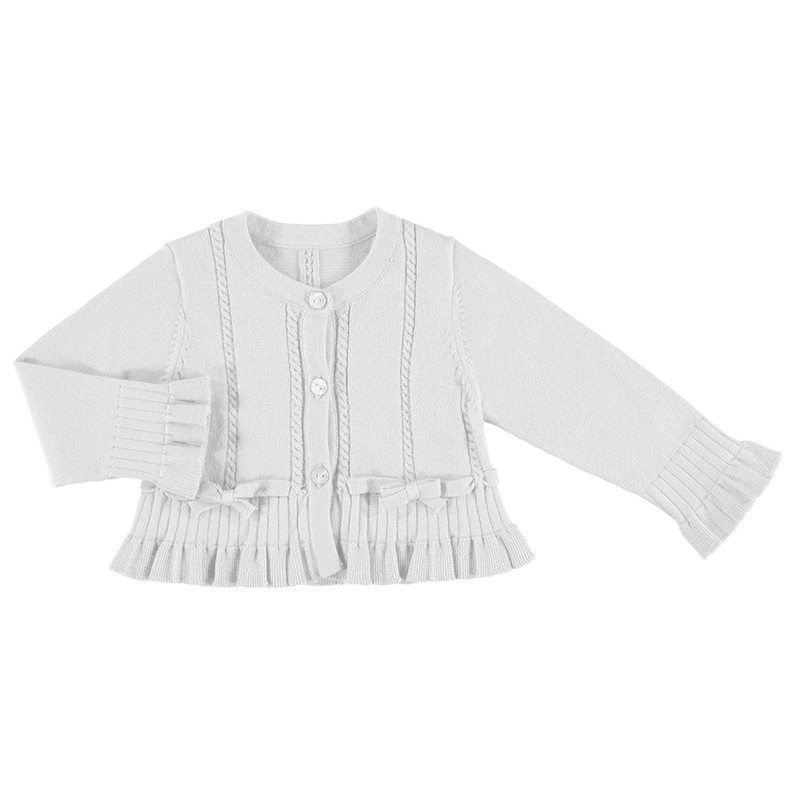 Mayoral Mayoral Knit Cardigan Flounce - White
