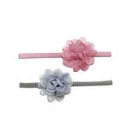 Baby Bling Bows 2pk Mini Chiffon Flower: Grey & Mauve