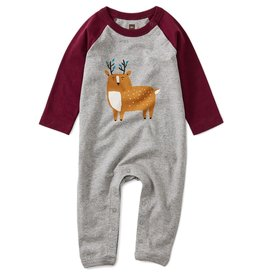 Tea Collection Baby Boy 3-6M Deer Raglan Romper - Boysenberry