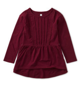 Tea Collection Girls 8Y Pleated Pintuck Top - Boysenberry