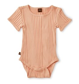 Tea Collection Variegated Rib Bodysuit - Dusty Coral
