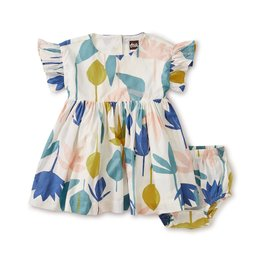 Tea Collection Ruffle Sleeve Baby Dress - Egyptian Floral