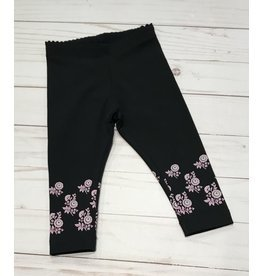 Tea Collection Baby Leggings - Nightfall with pink Flowers 3-6M