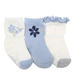 Robeez 3 Pk Socks, Pretty in Blue Cream/Light Blue