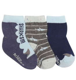 Robeez 3 Pk Socks, Boys Sharks Navy/Sky/Grey