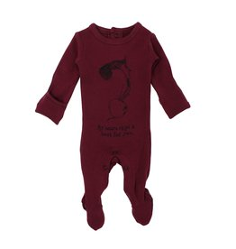 Loved Baby Organic Graphic Footie - Cranberry Beet 0-3M