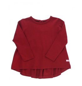 RuffleButts Long Sleeve Bow-Back Top, Cranberry