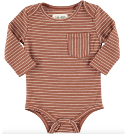 Me + Henry Brown Stripe Onesie, Baby 3-6M