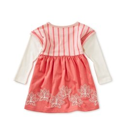 Tea Collection Lotus Layered Sleeve Baby Dress Pink Tulip 3T