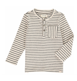 Me + Henry Cream and Grey Stripe Henley Tee, Boys 3-4Y