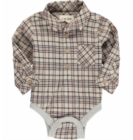 Me + Henry Brown Beige Plaid Roll-Sleeve Bodysuit with Book, Baby 18-24M