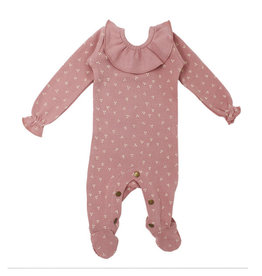 Loved Baby Organic Ruffle Footie Mauve Dots