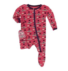 Kickee Pants Print Classic Ruffle Footie with Zipper, Red Ginger Aliens with Flying Saucers
