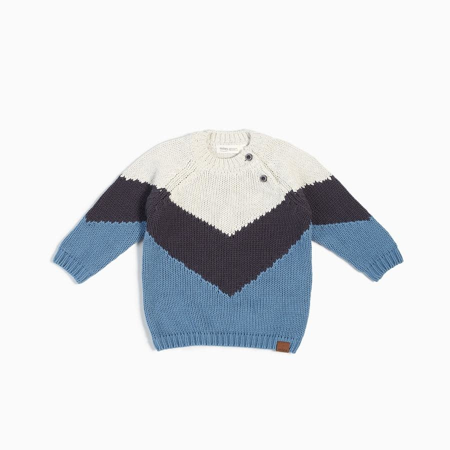 Miles Baby Chevron Knit Sweater Blue