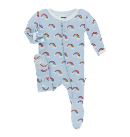 Kickee Pants Footie 6-9M with Snaps Pond Rainbow