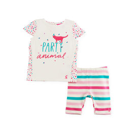 Joules Joules Party Animal Graphic T-Shirt w/ Striped Leggings, 3-6M