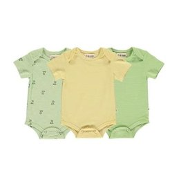 Me + Henry Green/Yellow SS 3 Pack Bodysuits