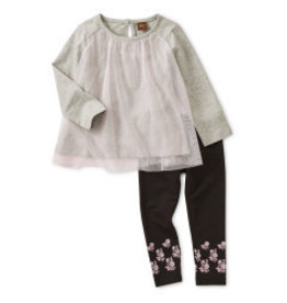 Tea Collection Twirling Tulle Baby Set - Med Heather Grey 6-9M