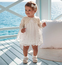 Mayoral White Flower Girl Dress Baby Girl - Embroidered Tulle