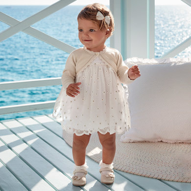 Mayoral Mayoral White Flower Girl Dress Baby Girl - Embroidered Tulle