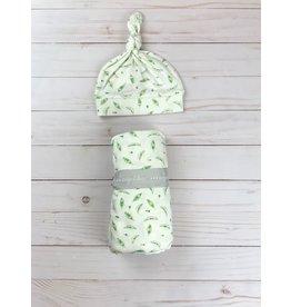 Angel Dear Bamboo Knit Swaddle + Hat, Sweet Peas