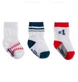 Robeez 3 Pk Socks, Baseball White