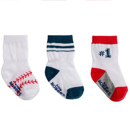 Robeez 3 Pk Socks, Boy Baseball White