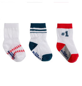 Robeez 3 Pk Socks, Baseball White