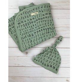 Loved Baby Organic Blanket  + Hat- Seafoam Letters