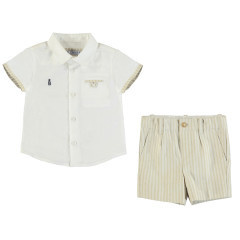 Mayoral Linen Top and Bermuda Short Set Baby Boy