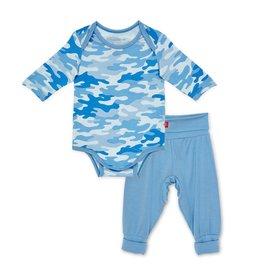 Magnetic Me Blue Camo Chic Modal Magnetic Bodysuit + Harem Pant