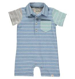 Me + Henry Blue/Multi Stripe Jersey Romper