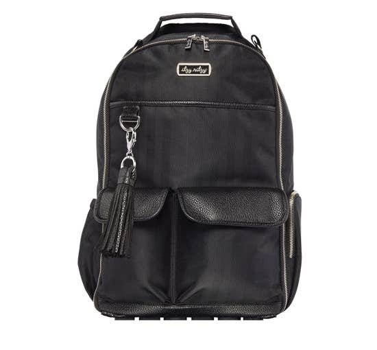 Itzy Ritzy Boss Diaper Bag Backpack Black Herringbone
