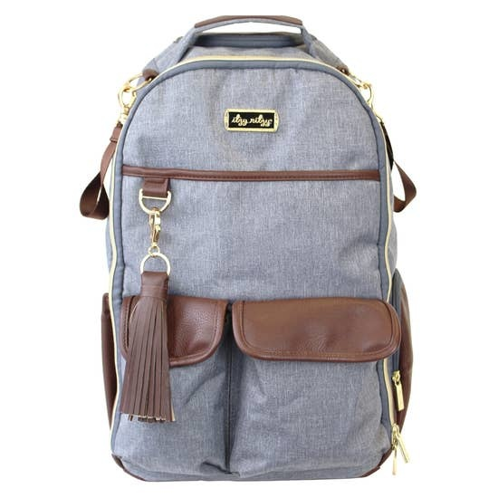 Itzy Ritzy Boss Diaper Bag Backpack Handsome Heather Gray