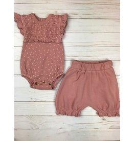 Loved Baby Smocked S/S Bodysuit Mauve Dots + Bloomer Set