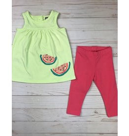 Tea Collection Melon Tank Dress and Legging Set - Lime Ice with Neon Rosa