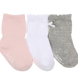 Robeez 3 Pk Socks, Girly Girl Basics Pink/Grey/WH 12-24M