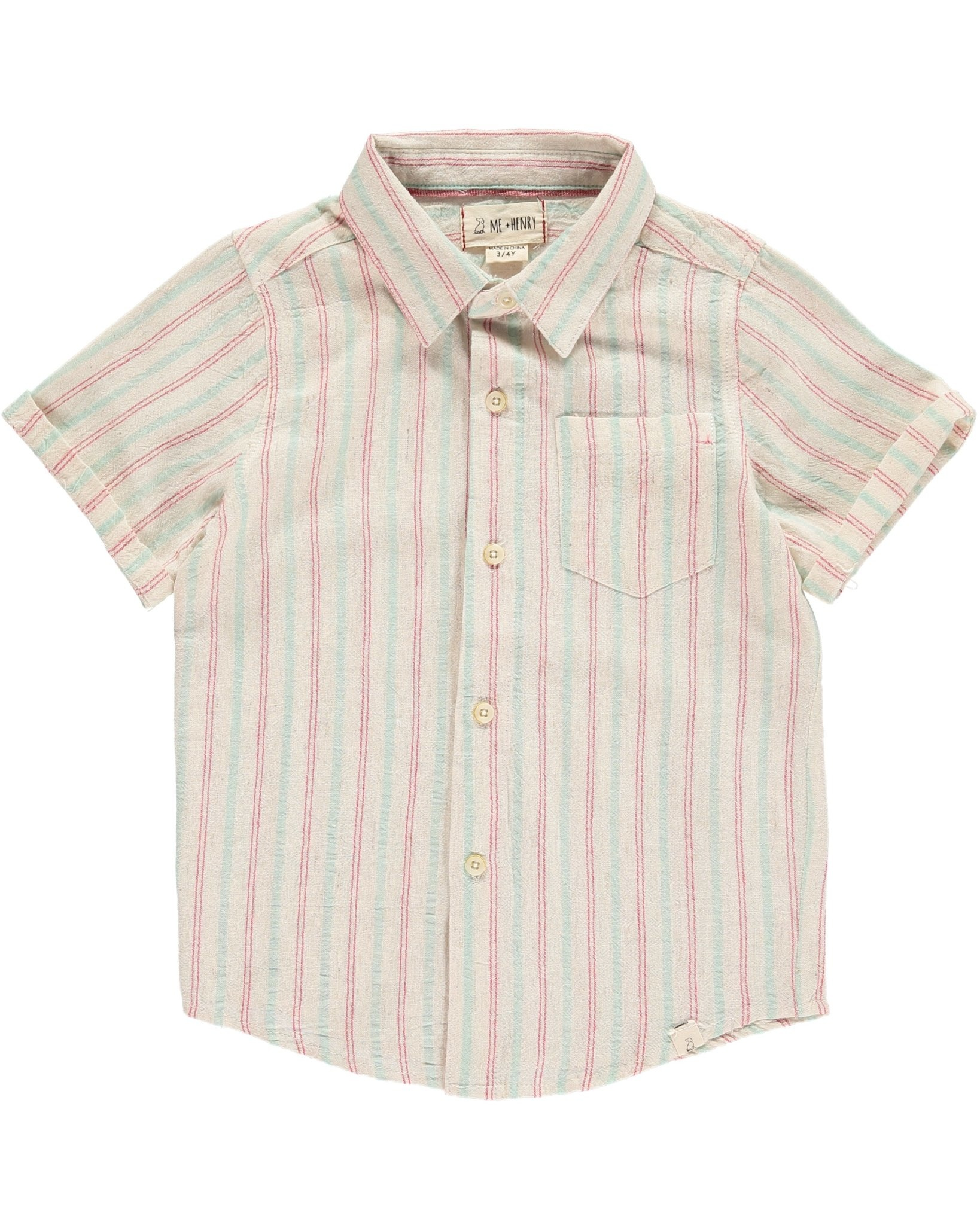 Me + Henry Green/Red Striped SS Woven Shirt