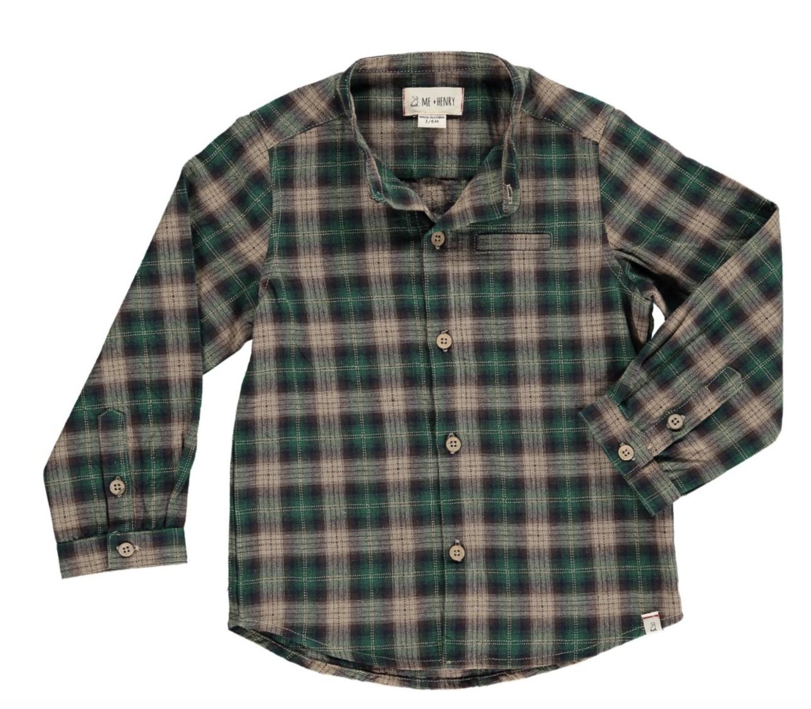 Me + Henry Green Plaid Shirt, Boys