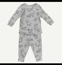 Oliver and Rain Organic Heather Gray Dog Print 2-Piece Pajamas