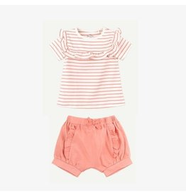 Oliver and Rain Coral Pink Stripe Ruffle Tee + Short Set