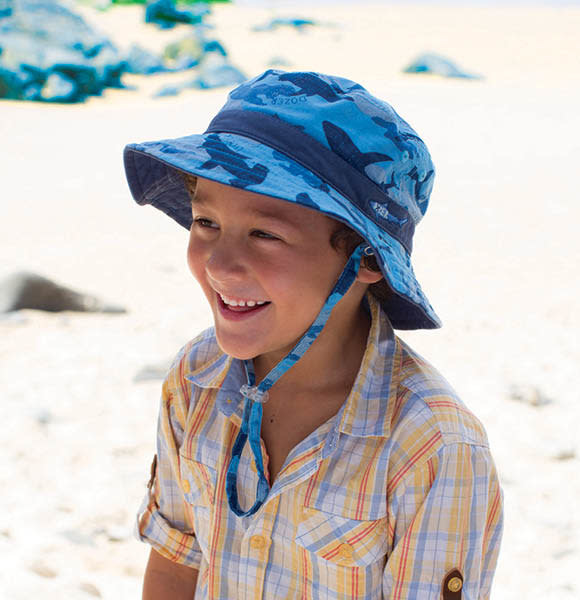 Millymook and Dozer Boys Bucket Sun Hat - Reef Blue L (5y+)