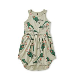 Tea Collection Girl Size 3 - Skirted Tank Dress, Parakeets - Desert Sage 3