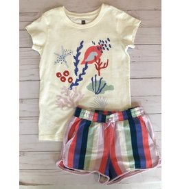 Tea Collection Sea Life Graphic Chalk Tee + Pom Water Lotus Shorts 5