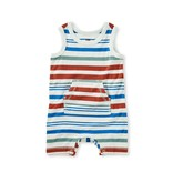 Tea Collection Kanga Pocket Tank Romper Striped Clearly Aqua