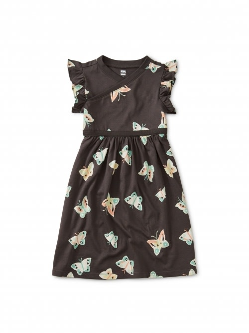 Tea Collection Wrap Neck Dress - Butterflies