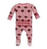Kickee Pants Print Muffin Ruffle Footie with Zipper, Strawberry Poppies 18-24M