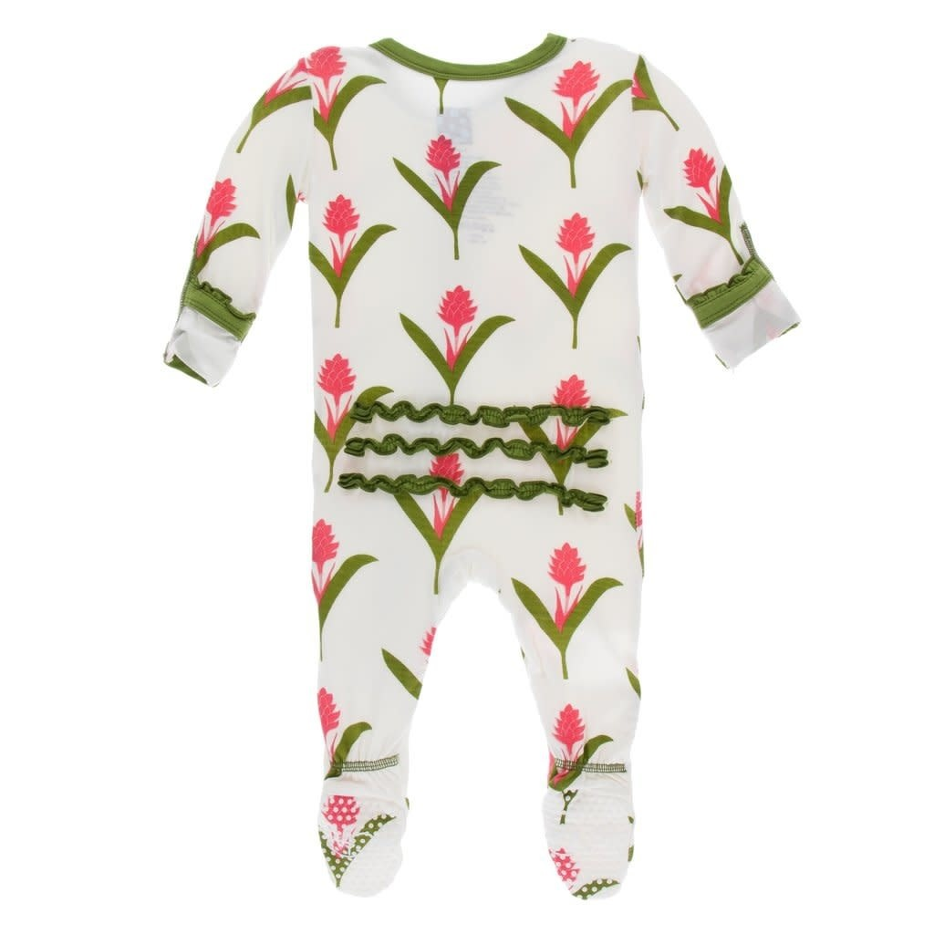 Kickee Pants Print Classic Ruffle Footie with Zipper, Natural Red Ginger Flowers Newborn