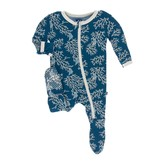 Kickee Pants Print Footie with Zipper Twilight Coral Fans 0-3M
